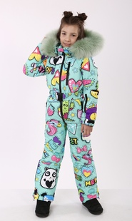 "Winter jumpsuit for teenagers Boo&Bon ""Stickers mint"""