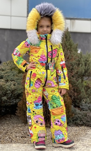 "Winter jumpsuit for teenagers Boo&Bon ""Stickers yellow"""