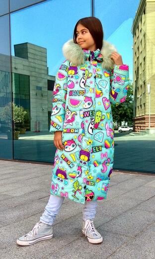 """Oversized down jacket for teenagers Boo&Bon """"Stickers Mint"""""""