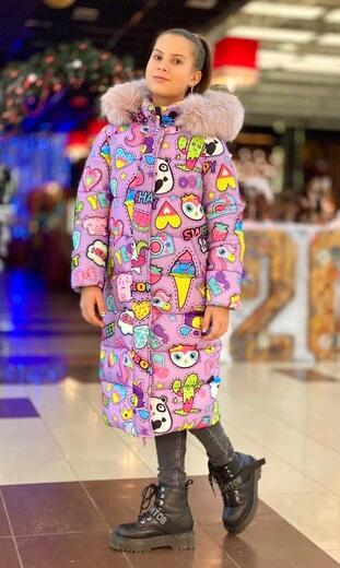 """Oversized down jacket for teenagers Boo&Bon """"Stickers lilac"""""""