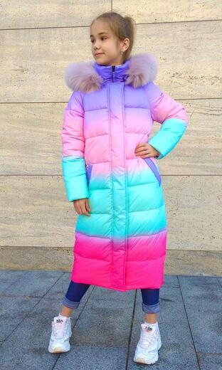 """Oversized down jacket for teenagers Boo & Bon """"  Girl with a bulldog"""""""