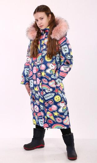 """Oversized down jacket for teenagers Boo&Bon """"Stickers Jeans"""""""