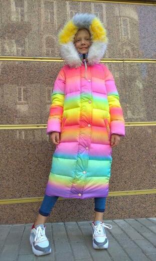 "Oversized down jacket for teenagers Boo&Bon ""Rainbow Unicorn"""