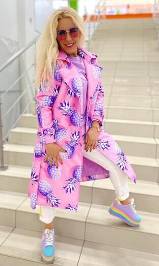 """Women's trench coat Boo&Bon """"Pineapples on pink"""""""