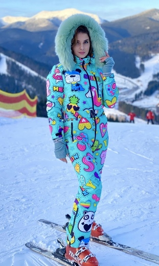 "Winter jumpsuit for female Boo&Bon ""Stickers mint"""