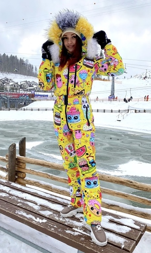 "Winter jumpsuit for female Boo&Bon ""Stickers yellow"""
