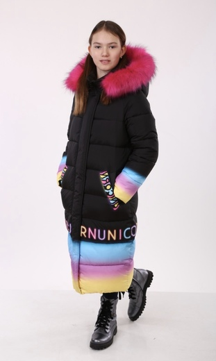 "Oversized down jacket for teenagers Boo&Bon "" Neon Unicorn"""